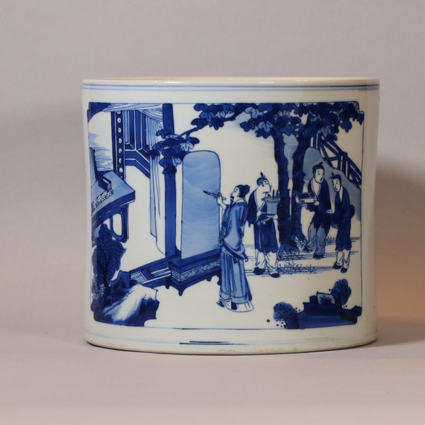 Chinese blue and white brush pot, Bitong, Kangxi (1662-1722), c.1700-15 - image 1