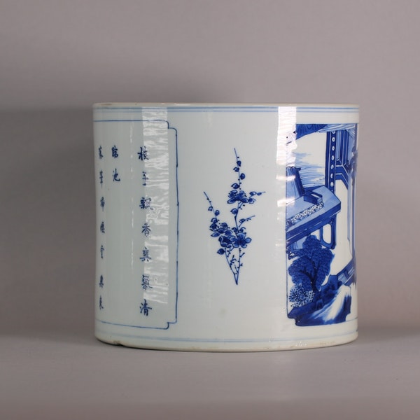 Chinese blue and white brush pot, Bitong, Kangxi (1662-1722), c.1700-15 - image 3