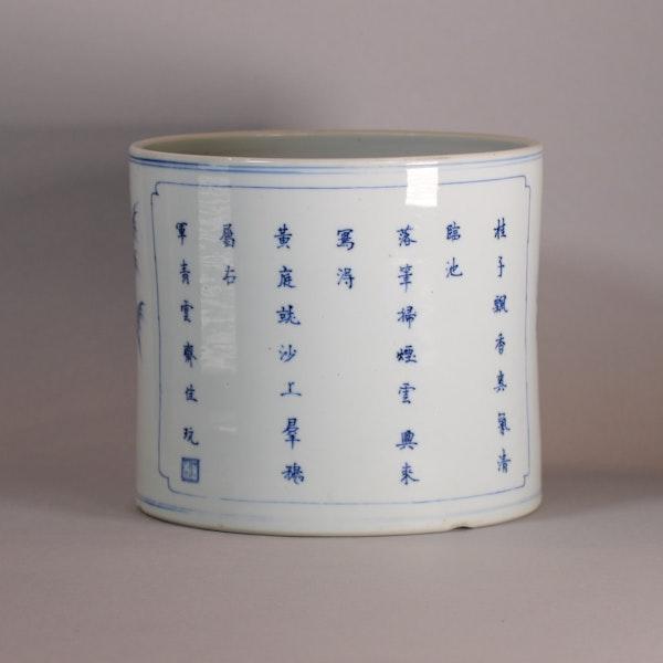 Chinese blue and white brush pot, Bitong, Kangxi (1662-1722), c.1700-15 - image 4