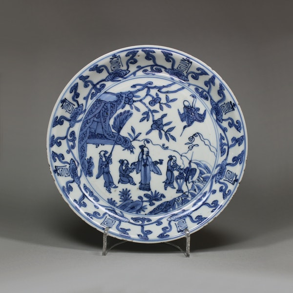 Chinese blue and white dish, Wanli mark and period (1573-1619) - image 1