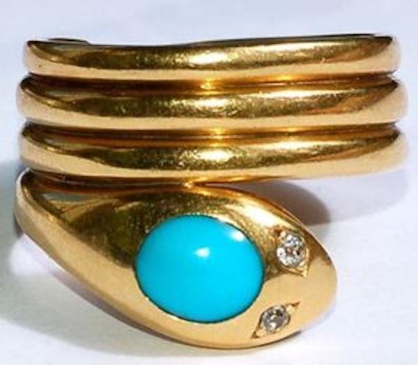 Turquoise serpent hoop - image 2