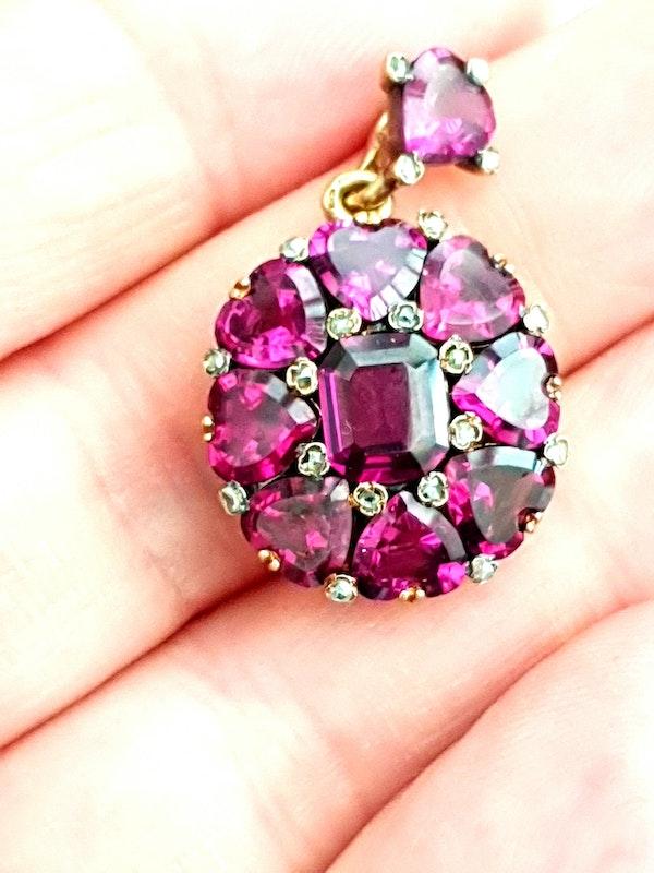 Antique fine rhodolite garnet and diamond pendant locket DBGEMS - image 2
