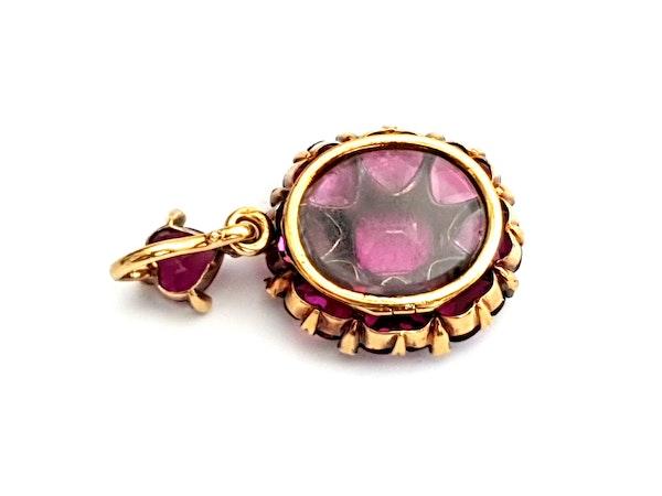 Antique fine rhodolite garnet and diamond pendant locket DBGEMS - image 3