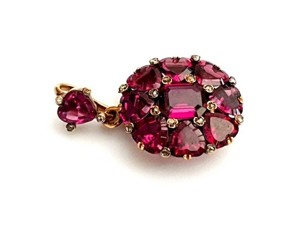 Antique fine rhodolite garnet and diamond pendant locket DBGEMS - image 4