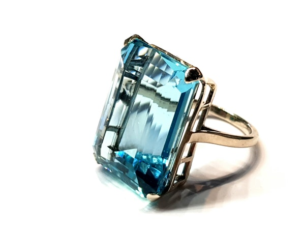 Super 30.35ct Vivid Aquamarine ring  DBGEMS - image 4