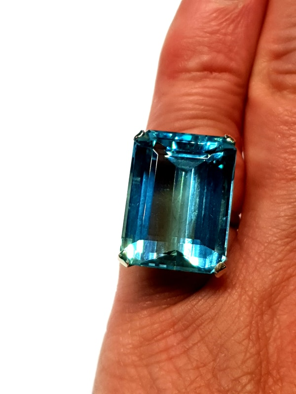 Super 30.35ct Vivid Aquamarine ring  DBGEMS - image 1