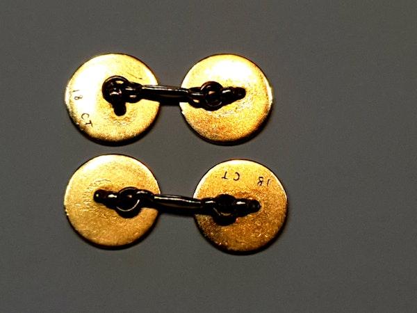 Art deco enamel 18ct gold engine turned cufflinks  DBGEMS - image 3