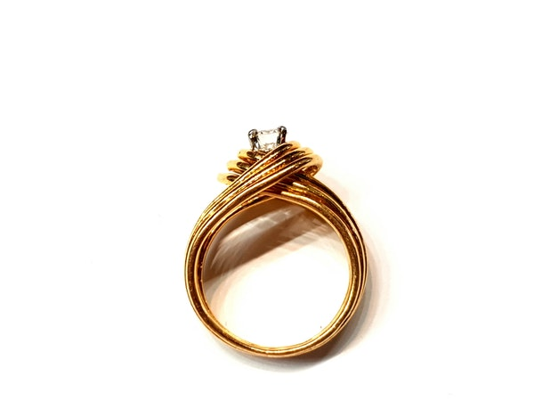 Stylish French 18ct gold and diamond ring  DBGEMS - image 3