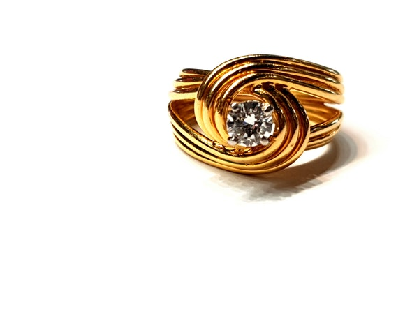 Stylish French 18ct gold and diamond ring  DBGEMS - image 5