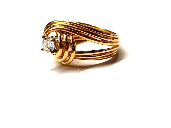 Stylish French 18ct gold and diamond ring  DBGEMS - image 4