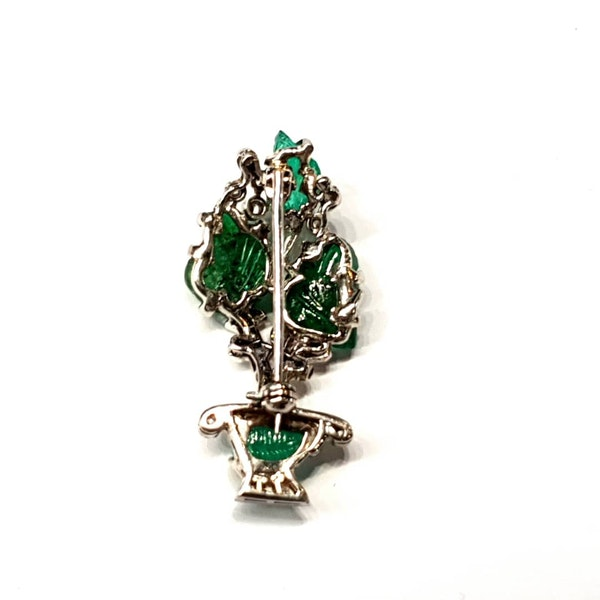Carved emerald and diamond giardinetti brooch  DBGEMS - image 2