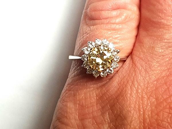 Fancy yellow old European transitional cut diamond engagement ring - image 2