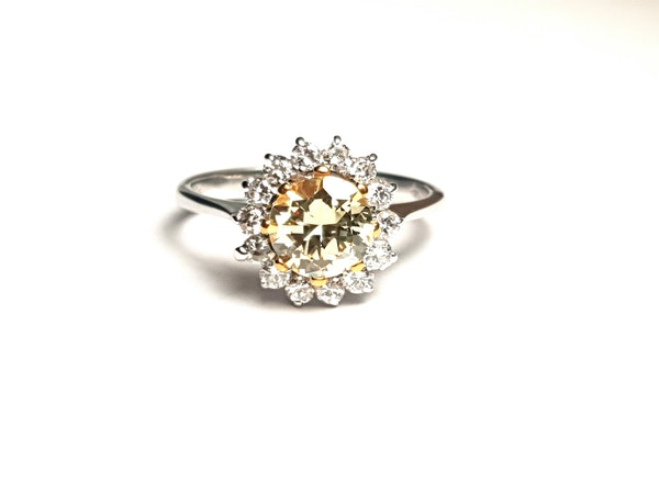 Fancy yellow old European transitional cut diamond engagement ring - image 4