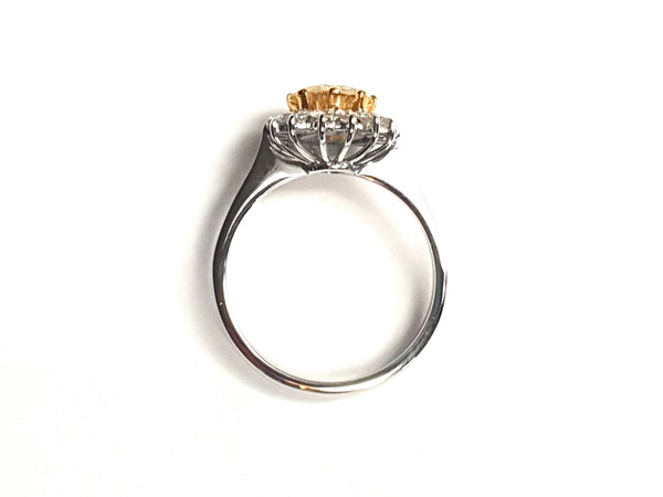 Fancy yellow old European transitional cut diamond engagement ring - image 3