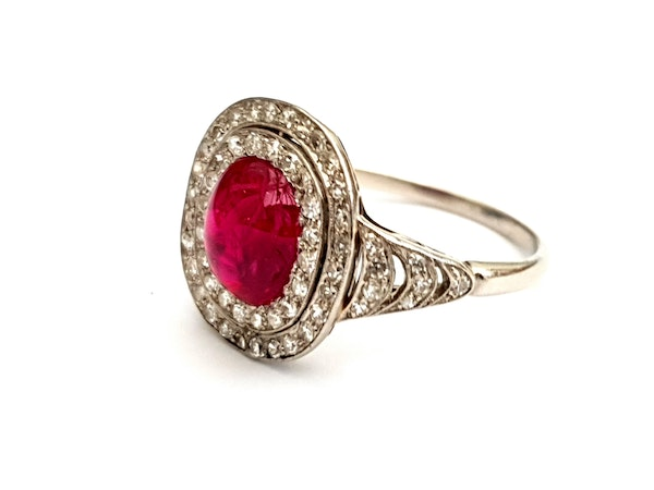 Natural cabochon ruby and diamond art deco target engagement ring - image 2