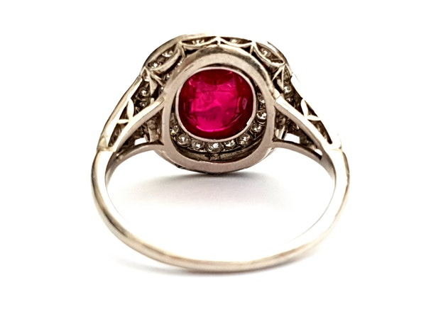 Natural cabochon ruby and diamond art deco target engagement ring - image 4
