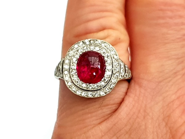 Natural cabochon ruby and diamond art deco target engagement ring - image 5