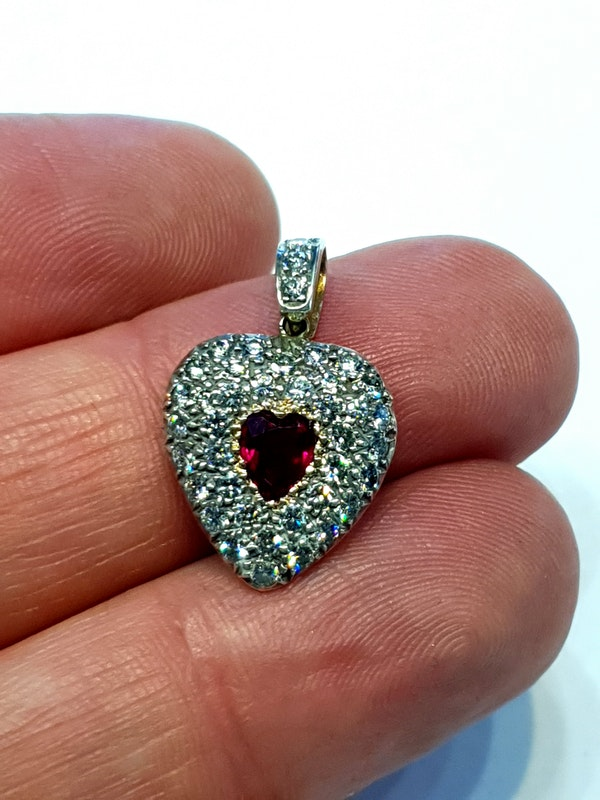 Antique heart shaped ruby and diamond locket pendant - image 3
