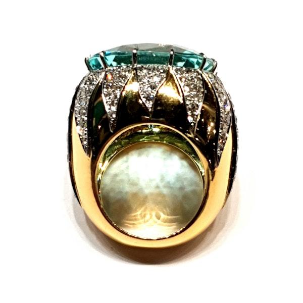 Show stopping aquamarine and diamond dress ring  DBGEMS - image 2