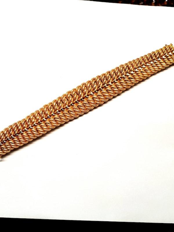 18ct gold inter woven wide gold bracelet  DBGEMS - image 4