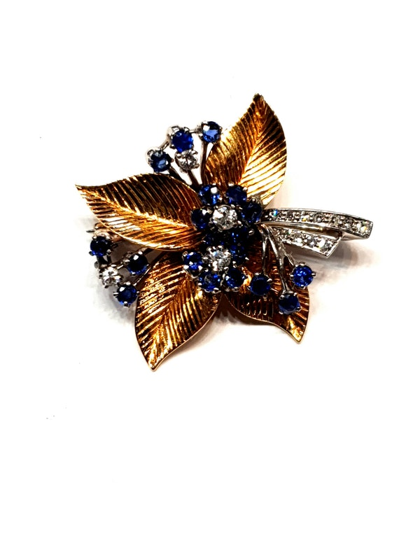 1940's Sapphire and diamond bouquet brooch  DBGEMS - image 2