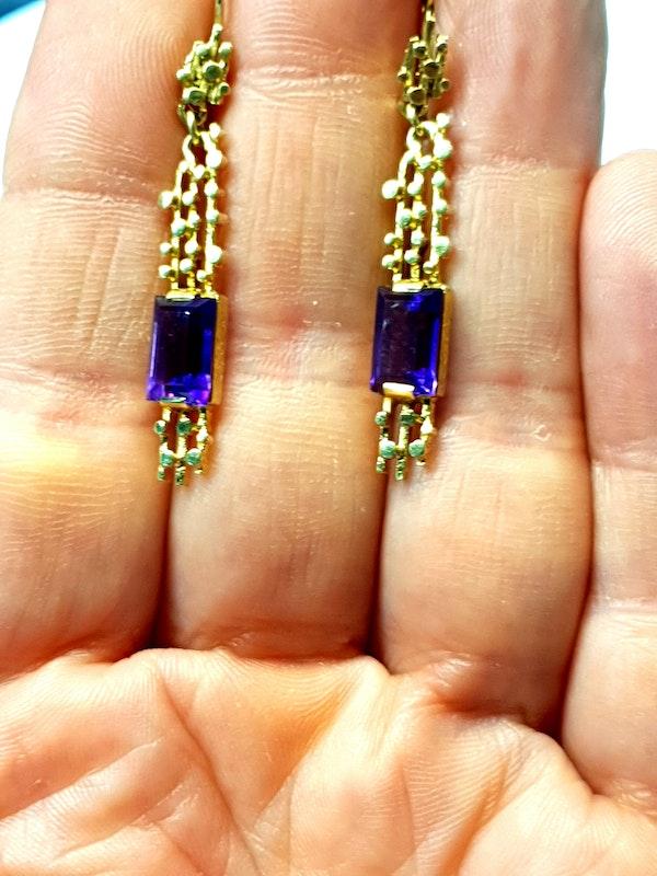 1960's amethyst drop earrings  DBGEMS - image 2