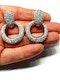 Pave diamond top and hoop drop earrings  DBGEMS - image 2