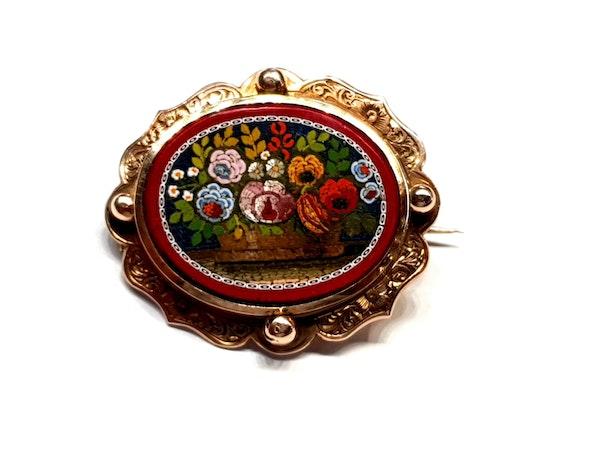 Rare Antique micro mosaic swivel brooch  DBGEMS - image 3