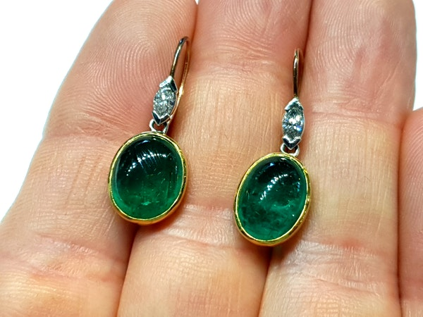 Cabochon emerald and marquise cut diamond drop earrings - image 2