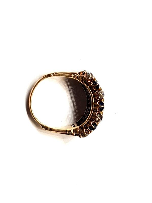 Fabulous antique sapphire and diamond three row ring  DBGEMS - image 3