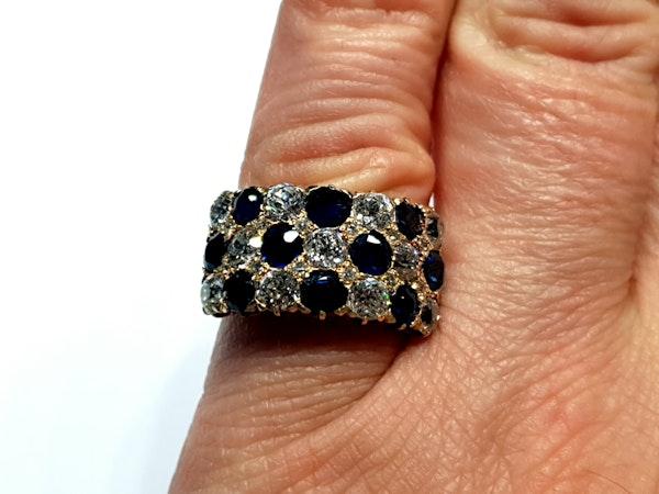 Fabulous antique sapphire and diamond three row ring  DBGEMS - image 4