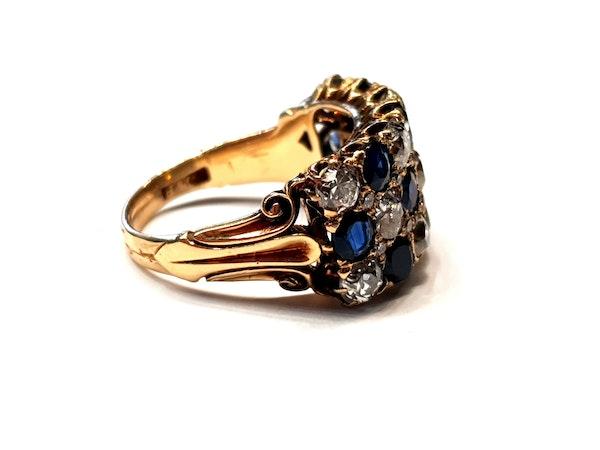 Fabulous antique sapphire and diamond three row ring  DBGEMS - image 2