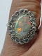 Fabulous art deco opal and diamond cluster ring  DBGEMS - image 3