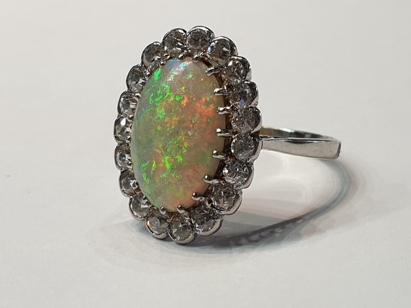 Fabulous art deco opal and diamond cluster ring  DBGEMS - image 2