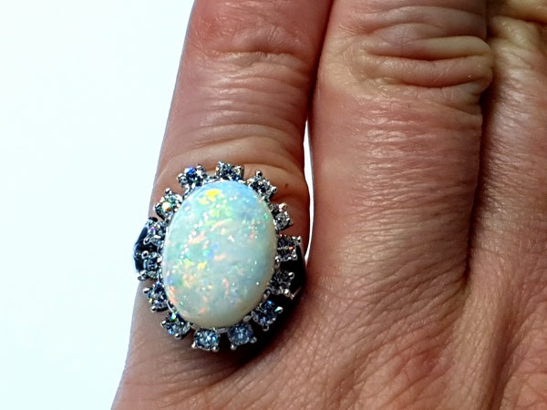 Substantial opal and diamond dress ring  DBGEMS - image 4