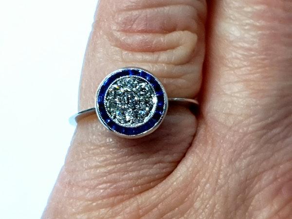 Art deco sapphire and diamond halo engagement ring  DBGEMS - image 4