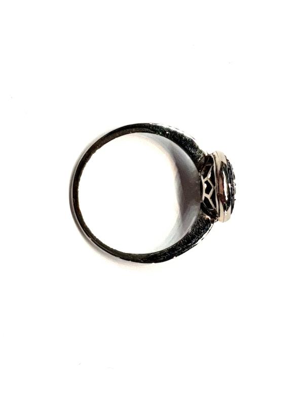 Art deco sapphire and diamond halo engagement ring  DBGEMS - image 2