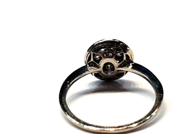 Art deco sapphire and diamond halo engagement ring  DBGEMS - image 5