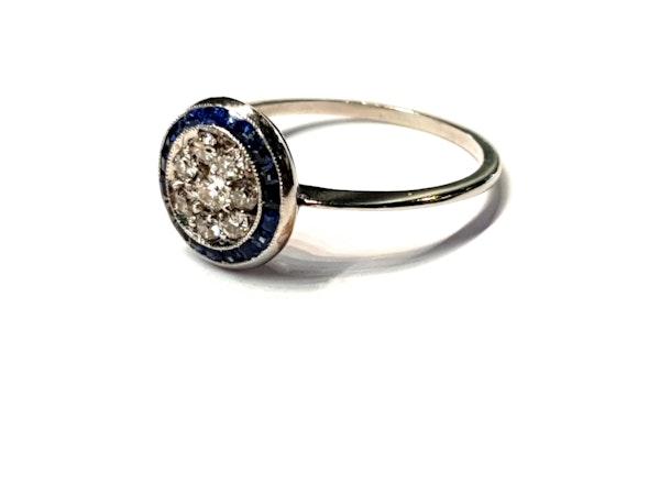 Art deco sapphire and diamond halo engagement ring  DBGEMS - image 3