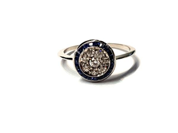 Art deco sapphire and diamond halo engagement ring  DBGEMS - image 1