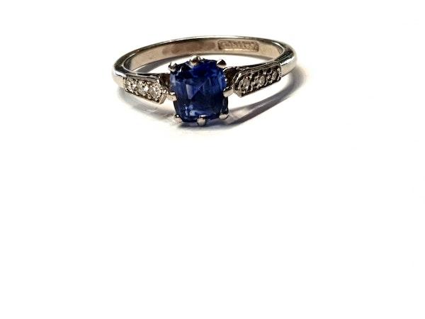 Ceylon sapphire and diamond engagement ring  DBGEMS - image 1