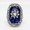 Georgian diamond and blue glass ring - image 2