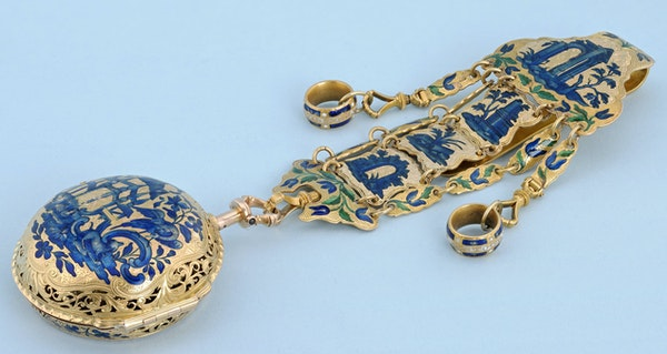 GOLD AND ENAMEL REPEATER AND CHATELAINE - image 2