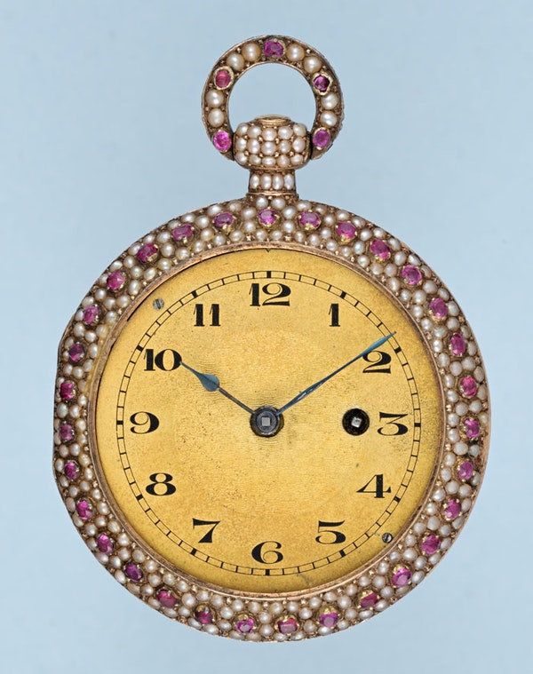 RARE PEARL AND RUBY ENCRUSTED GOLD WATCH - image 4