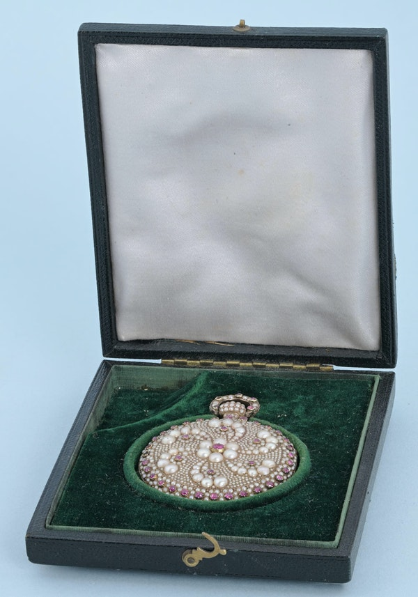 RARE PEARL AND RUBY ENCRUSTED GOLD WATCH - image 2