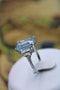 A very beautiful Platinum (marked) Aquamarine of approximately 8 Carats and Diamond stepped shouldered Ring, Mid 20th Century. - image 3
