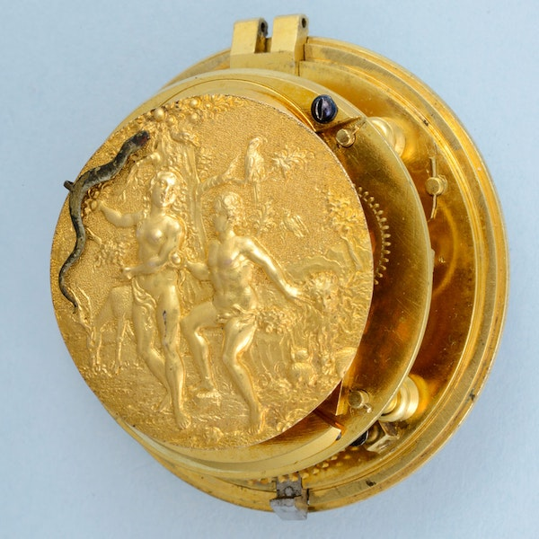 RARE EARLY VERGE POCKET WATCH WITH GARDEN OF EDEN AUTOMATION - image 2