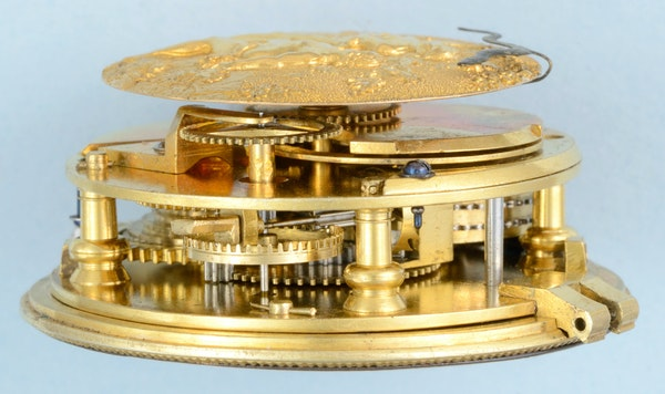 RARE EARLY VERGE POCKET WATCH WITH GARDEN OF EDEN AUTOMATION - image 3
