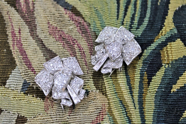 Platinum Diamond Double Clip Bow Brooch, English, Circa 1930 - image 5
