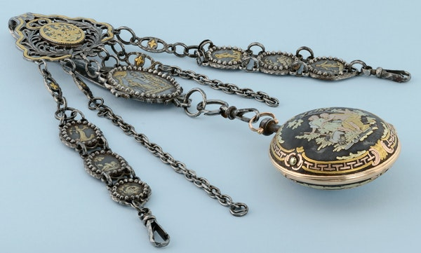 RARE GOLD DECORATED WATCH AND CHATELAINE - image 7